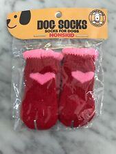 USA 4PCS Dog Shoes Pet Boot Booties Heart Knit Anti-slip Nonskid Socks Size S/XS