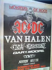 MONSTERS OF ROCK 1984 - FULL PAGE ADVERT small poster - AC/DC VAN HALEN OZZY Y&T