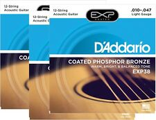 D'Addario Guitarra Cuerdas 3 Paquete EXP38 Revestido Fosforado Bronce 12-String