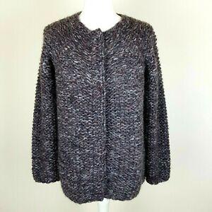NOA NOA Cardigan Jacket S Grey Purple Wool Mohair Mix Open Knit Popper Closure