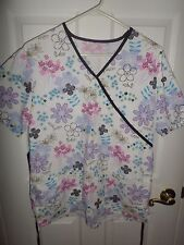 Women's Floral Scrub Top Ties In Back ~ SMALL
