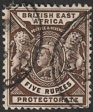 British East Africa 1896 QV 5r Sepia Used SG79 cat £45 reperfed at base