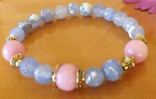 Blue Fire Agate Pink Jade Gemstone Bracelet Healing Yoga Jewellery Stacking Mala