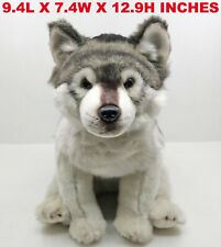 Realistic Gray Wolf Pup Pet Plush, Simulation Stuffed Animal Cuddly Doll Toy