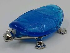 Hand Crafted Glass Metal Blue Turtle Figurine New