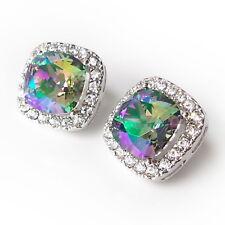 Cushion Cut Swarovski Crystal Prom Gift Paradise Shine Halo Stud Earring w/ 10mm