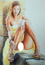 ORIGINAL Pastel  Drawing Painting Female Nude