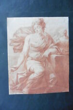 FRENCH SCHOOL 18thC - STUDY FEMALE FIGURE CIRCLE NATOIRE - RED CHALK DRAWING