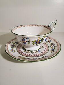 Antique Coalport Hawthorn pattern dark blue bone china 10 soup bowl with white flowers