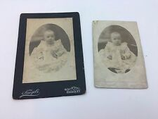 Two Antique Cabinet Card Photos Baby Girl 1901