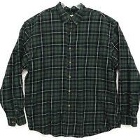 Eddie Bauer Flannel Shirt Mens Size XL Green PLaid Long Sleeve Button Up *READ