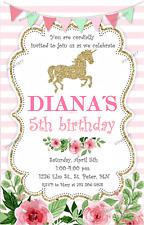 Shabby Chic Unicorn Personalised Invitation - Printable Digital PNG PDF
