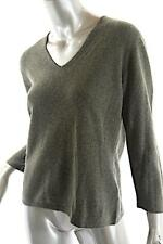 CULLEN Olive Green 100% Cashmere 3/4 Sleeve V-neck Sweater with Slit Cuff  Sz L