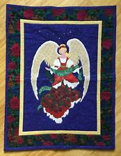 "Vintage Handmade by Mom, Quilted CHRISTMAS ANGEL Wall Hanging 24"" X 32"""