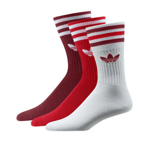 adidas Originals TREFOIL SOLID CREW SOCK Socken 3PACK white red NEU