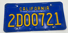 Vintage 1980's California License Plate Blue 2D00721