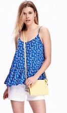 Old Navy Womens Blue Peplum Cami with White Leaves size 2XL NWT