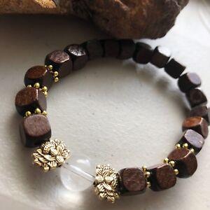 Gold Lotus Sphatik Gemstone Healing Crystal Spheres Wood Mala Bracelet Men sz 8