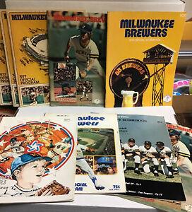 Lot of vintage 1970's Milwaukee Brewers programs, scorebooks, (9) bad cond