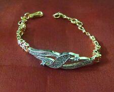 Indian Ethnic Gold Plated CZ Stone Thin Sleek Girls Teen Women Chain Bracelet