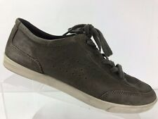 Ecco Collin Classic Tie Fashion lace Sneaker Grey Leather Shoes Men's 42 US 8