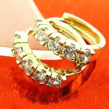 Earrings Hoops Huggie Real 18k Yellow G/F Gold Solid Diamond Simulated Design