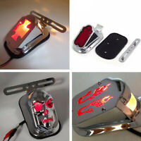 Chrome Tombstone Skull Flame Maltese Cross Brake Tail Light Signal For Harley