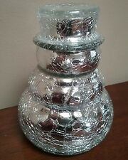 NEW Silver Metallic Crackled Glass Snowman W/Vanilla Filled Candle Holder Unused