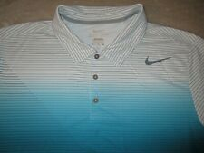 Mens - NIKE GOLF - Polo Shirt DRI FIT White Gray Aqua Blue Stripe XL