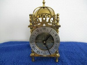 SMITHS BRASS LANTERN CLOCK 8 DAY MECHANICAL C1950'S SILVER DIAL