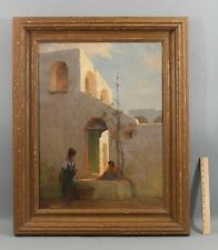 Antique Attributed JULIUS ROLSHOVEN Taos New Mexico Building Women Oil Painting