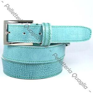 Cintura Uomo vera Pelle Azzurra Cinta Donna in Cuoio Sportiva Casual di da 3 cm