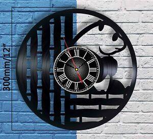 Cute Panda Bamboo Vinyl Record Wall Clock Home Room Decor Modern Art Watch Gift