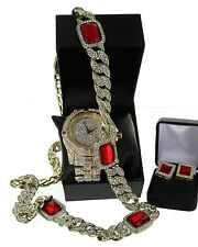 "Iced Out GP Rapper;s Lab Diamond Watch 32"" Cuban Ruby Stone Chain + Earring Set"