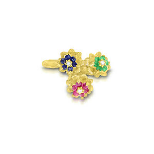 Tulip Ruby, Sapphire, Emerald Flower Ring 14k Yellow Gold Ring