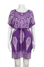 KIMONO Tunic Dress Small Purple Floral Paisley Tie Waist Bat Sleeves Mini Short