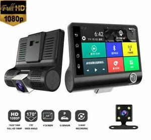 4'' 1080P Dual Lens DVR Car FHD Rearview Video Dash Cam Recorder Camera G-sensor