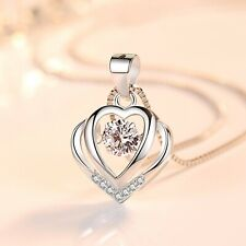 Heart Crystal Stone Pendant Chain 925 Sterling Silver Necklace Womens Jewellery