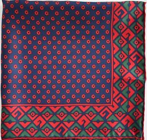 New Auth GUCCI Sapphire Blue & Red 100% SILK Pocket Square Handkerchief