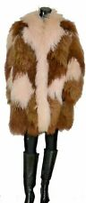Vtg Mongolian Fur Coat Jacket Tibetan Lamb Shaggy Avant Garde Glam Multi Color