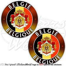 BELGIUM BELGIE BELGIQUE Flag-Coat of Arms BELGIEN Belgian 5cm Stickers Decals x4