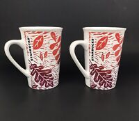 Starbucks Fall Leaves Autumn Colorful Leaf 11oz Coffee Mug/Cups Set of TWO! EUC
