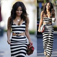 New Womens Sexy Striped Long Maxi Boho Dress Ladies Summer Beach Party Sun Dress