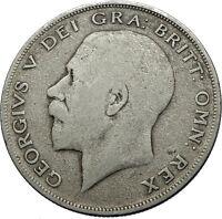 1920 Great Britain United Kingdom UK King GEORGE V Silver Half Crown Coin i71947