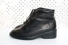 Size UK 5.5 AU 8.5 Vintage Ladies Black Leather Patent Rock Laceup ankle boots