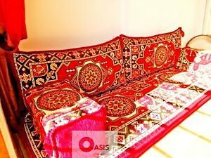 arabic majlis, red floor seating, bohemian furniture, jalsa, OFC 13