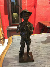 """""""Pecheur"""" by Adolphe Jean Lavergne- Bronze Statue of Young Angler"""
