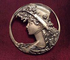 Of Woman In Hat Moon Silver 925 Art Nouveau Brooch / Pendant ~ Profile