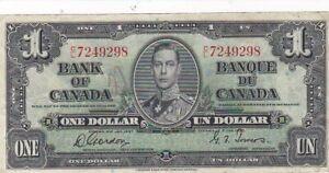1937 Canada $1 Note, Series C/L Pick 58d