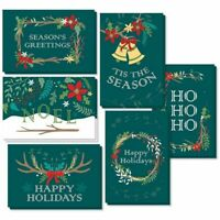 "48 Merry Christmas Greeting Cards Bulk Box Set Xmas Winter Holiday Design 4""x6"""